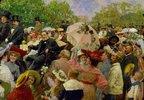 Karl Lueger, Bürgermeister von Wien, in der Kutsche beim Blumenkorso im Prater