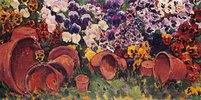 Stiefmütterchen und Blumentöpfe