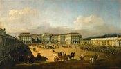 Schloss Schönbrunn mit Ankunft eines Kuriers von der Schlacht von Kunersdorf
