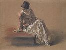 Kostümstudie einer sitzenden Frau. (Die Schwester Emilie)