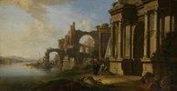 Flußlandschaft mit Ruinen