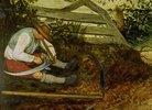 Bauer beim Dengeln seiner Sense. (Detail aus: Die Heuernte, siehe Bildnummer 870)