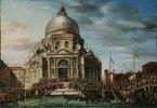 Der jährliche Besuch des Dogen in Santa Maria della Salute in Venedig. 18. Jh