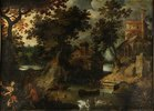 Waldlandschaft mit mythologischer Staffage: Pan und Syrinx