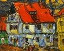 Blaues Haus mit rotem Dach