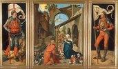 Paumgartner-Altar. Totale. Um 1500-04. Der hl.Georg, die Geburt Christi, der hl. Eustachius
