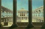 Theatervorhang mit Säulengängen
