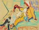 Zwei Mädchen auf einem Divan