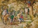 Ein Obrister lässt einen Landsknecht hängen