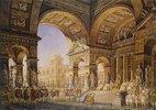 Theaterdekoration. Szene aus der Oper Titus