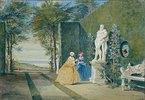 Parkansicht mit zwei jungen Damen neben einer Herkulesstatue