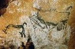 Höhle von Lascaux 17000 v. Chr. Gesamtansicht der Szene des Schachtes