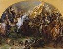 Die Siegesparade der preußischen Truppen vor Friedrich dem Großen nach der Schlacht bei Hohenfriedberg (Studie)