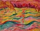 Flußlandschaft mit Schiffen und roter Sonne