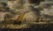 Die Mündung der Maas mit Segelbooten und Ruderkahn, im Hintergrund Dordrecht. Ab