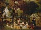 Ländliches Treffen neben einem Brunnen. (Les Champs Elysees). 1716/1717(?)