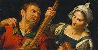 Dudelsackspieler und eine Frau. 1. Hälfte 16.Jh