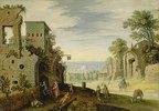 Landschaft mit Ruinen und Blick auf eine Stadt