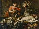 Christus im Haus von Maria und Martha mit einer Magd bei einem Stillleben mit Jagdbeute, Früchten und Gemüse. 1. Hälfte 17. Jh