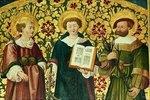 Hl. Stefanus, Hl. Laurentius und Hl. Rochus. Seitenaltar der Stadtpfarrkirche St. Johann, Rapperswil im Kanton St. Gallen, Schweiz