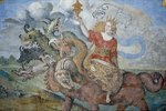Apokalypse - babylonische Hure reitet auf dem siebenköpfigen Drachen Apk