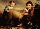 Zwei Kinder mit Lamm