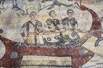 Drei Männer in einem Boot. Mosaikfußboden