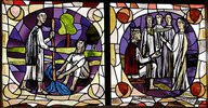 Roswithafenster. Der hl. Gangolf läßt die Heilquelle entspringen, Sapientia bekennt sich mit ihren drei Söhnen vor Kaiser Hadrian zum Christent
