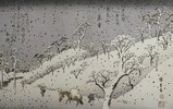Schneefall in den Bergen bei Asuka. Aus der Serie 'Eight Views of Environs of Edo'
