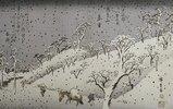 Schneefall in den Bergen bei Asuka. Aus der Serie 'Eight Views of Environs of Edo'