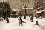 Winterliche Straßenszene in Paris