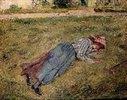 Liegendes Mädchen am Rasenhang