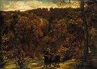 Maler, in die Betrachtung einer waldigen Landschaft versunken