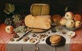 Stilleben mit Käse und Früchten