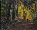 Mann auf dem Waldweg