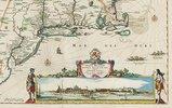 Weltkarte mit Allegorien der vier Elemente, aus einem Atlas, Amsterdam