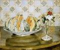 Stillleben mit Melone und einer Vase mit Blumen. 1883
