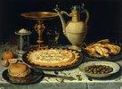 Stillleben mit Fleischpastete, Wachteln und Oliven