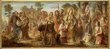 Die Einführung der Künste in Deutschland durch das Christentum; Farbenskizze zum Mittelbild des Freskos Inv.-Nr