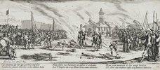 Les Miseres et les Mal-Heurs de la Guerre (Blatt 13): Der Scheiterhaufen. 1633