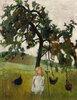Elsbeth mit Hühnern unter Apfelbaum. 1902