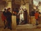 Faust und Mephistopheles warten an der Kirchentür auf Gretchen