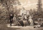 Kaiser Franz Joseph I. und Kaiserin Elisabeth mit ihren Kindern Kronprinz Rudolf, Marie Valerie und Gisela im Schloßpark von Gödöllö, Ungarn