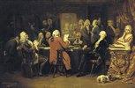 Voltaire im Lesezimmer des Café Procope