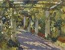 Sonniger Garten mit Pergola
