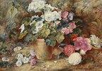 Blumenstillleben mit Kamelien neben einem Topf mit  Pelargonien