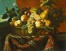 Stillleben mit Pfirsichen, Pflaumen und einer Melone