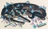 Zwei liegende schwarze Katzen
