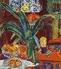 Stilleben mit Topfpflanze, Früchten und kleiner Skulptur