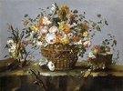 Blumen in einem Korb und ein kleiner Zweig mit Kirschen